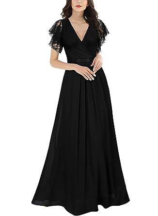 18ea0f71f Miusol Women's Deep-V Neck Floral Sleeveless Wedding Bridesmaid Maxi Dress  (Small, Black) at Amazon Women's Clothing store: