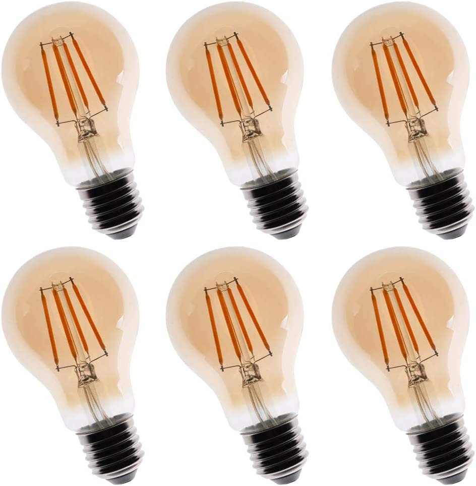 New Lights Vintage LED Edison Bulb Dimmable 6W A19 LED Light Bulbs 2200K Warm White 600LM Led Filament Bulb 60W Equivalent E26 Medium Base Amber Glass for Home, Cafe, Office 6 Pack