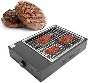 POCREATION Portable Electric Griddle, Indoor Electric Grill BBQ Grill Smokeless Non-Stick Barbecue Grill Adjustable Temperature for Cooking Meats Seafood Steak Pancake Cheese