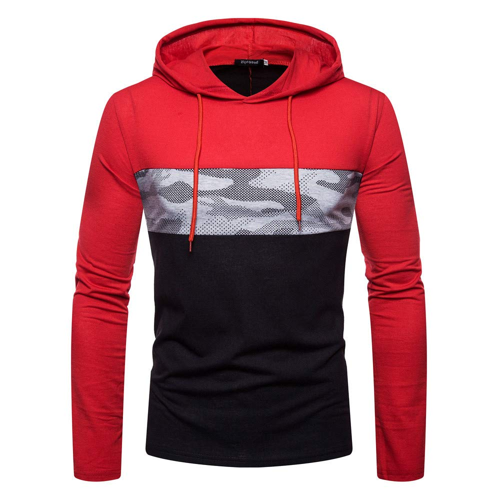 Cinhent Men's Sweatshirts Fashion Newly Long Sleeve Hooded Pacthwork Top Hoodies
