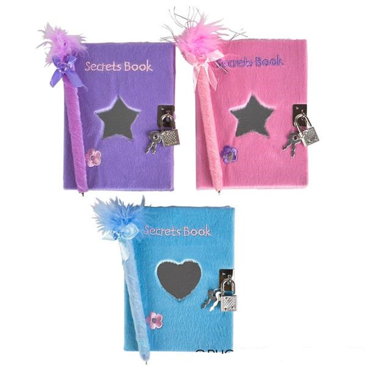Teen Girls Locking Diaries / Heart Journals With Mirror & Feather Boa Pen - 3 Pack Assortment