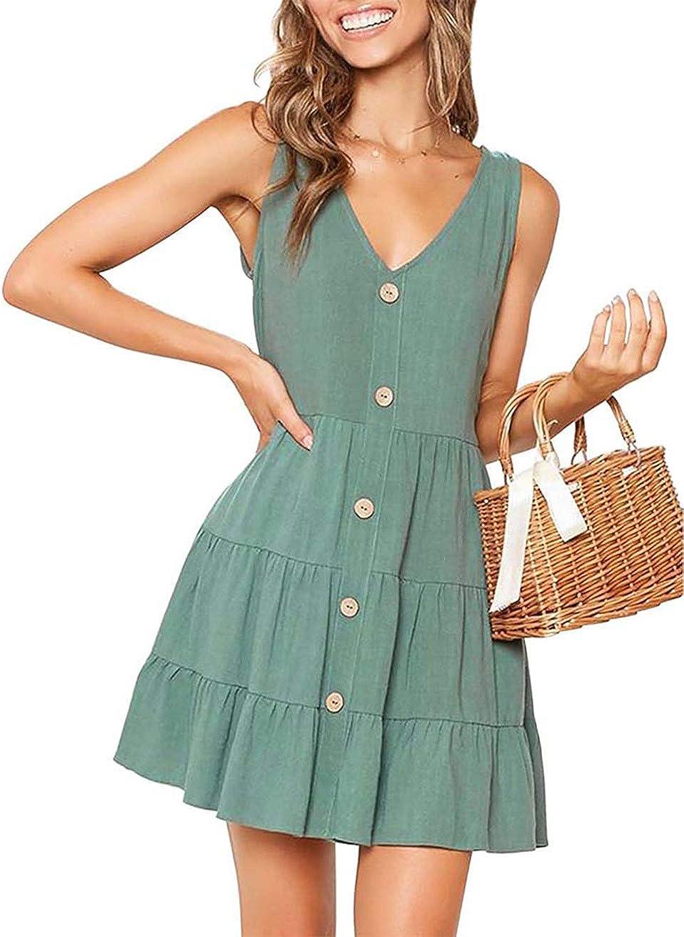 OEUVRE Women V Neck Sleeveless Button Front A Line Short Tank Dress Babydoll Ruffle Mini Dress