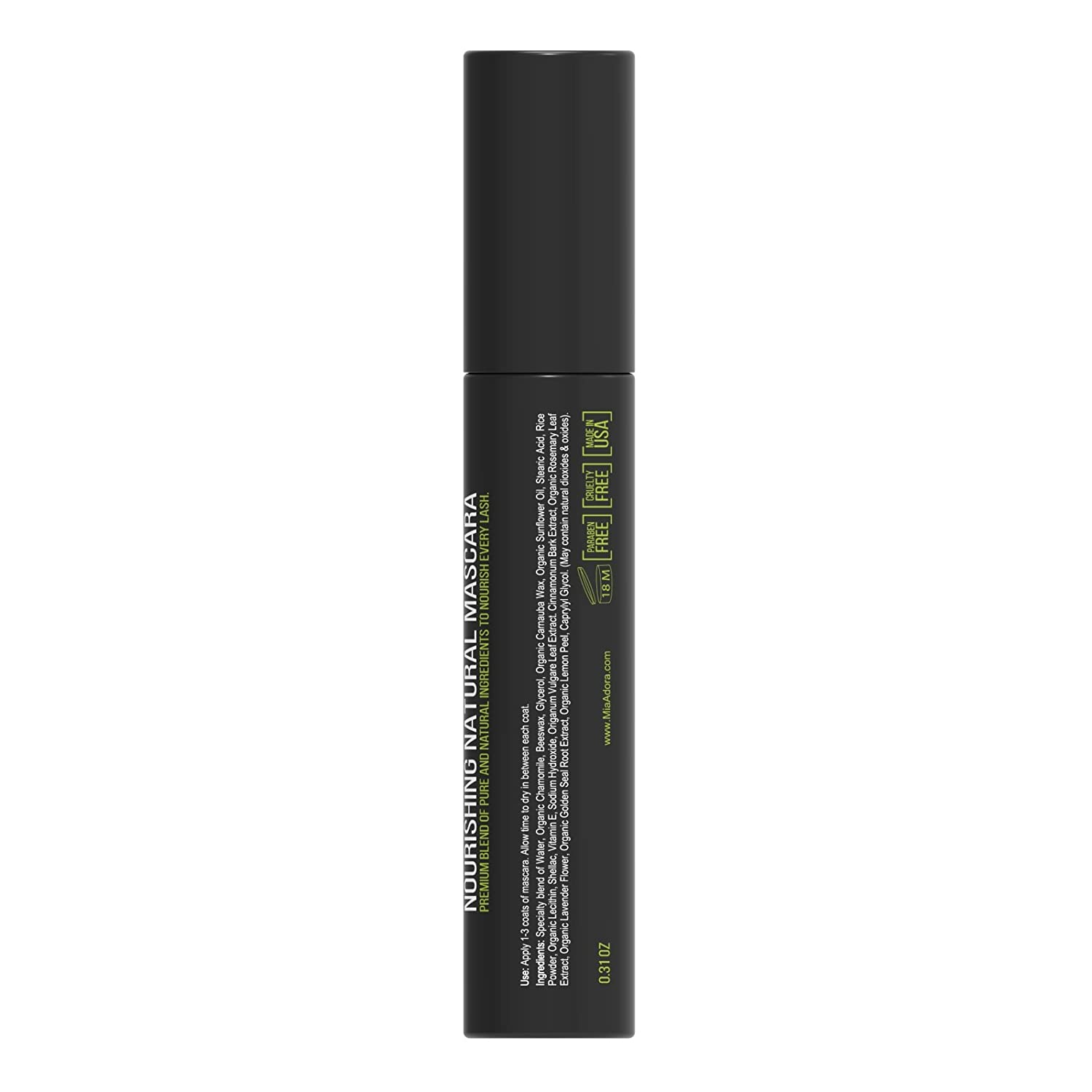 589d51807fe Amazon.com : Best Organic Mascara - Black Natural Mascara Ingredients for  Longer Lashes - Hypoallergenic Non-Toxic for Sensitive Eyes- Enriched  Vitamin E ...