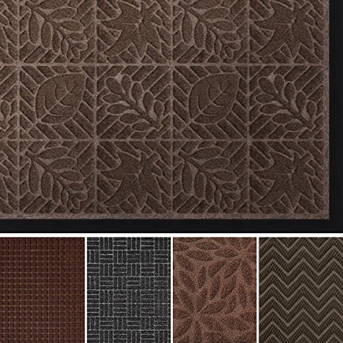 "AMAGABELI GARDEN & HOME Large Outdoor Rubber Shoes Scraper for Front Entrance Outside Doormat Patio Rug Dirt Debris Mud Trapper Waterproof Out Door Mat Low Profile Washable Carpet, 36"" x 24"", Brown from AMAGABELI GARDEN & HOME"