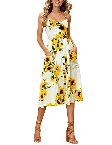 ... Abierta Encima Rodilla Vestido Dresses Fiesta Disfraz Moda Impresión Floral Ancho Casual Playa Woman Del Oscilación Dress: Amazon.es: Ropa y accesorios