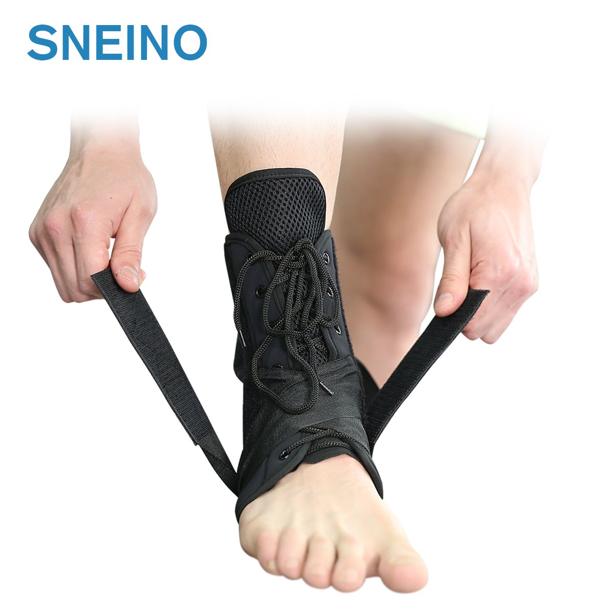 Ankle Stabilizer SNEINO Adjustable Ankle Brace with Gel Spring Support Ankle for Pain Recovery Reduce Foot Swelling Provides Arch Support,Heel Spurs,Achilles Tendon (XL)