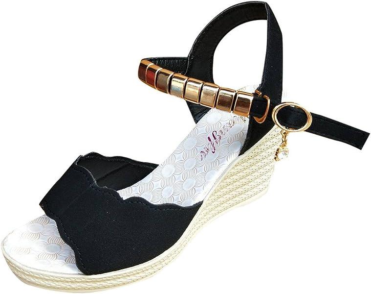 4e71d738236 Homebaby Sandales Femmes Talons-Sandales Femmes Été Sandales Compensées  Femme Sandales Talon Compensé Chaussures Tongs