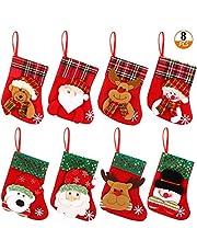 8 PCS Christmas Stocking Set Little Christmas Hanging Stocking Gift Bag with Santa Claus Snowman Bear Elk Pattern for Decorating Christmas Tree Fireplace Door Garden Windows