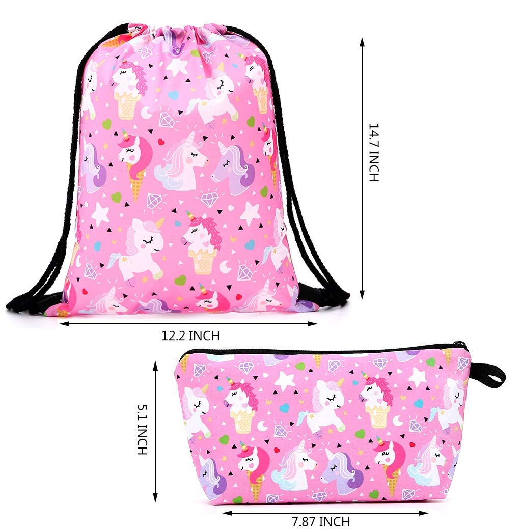 Fanovo Unicorn Drawstring Backpack/Make Up Bag/Necklace/Bracelet/Ring/Hair Ties/Gift Sets for Girls Party Christmas (A - Drawstring Set L)
