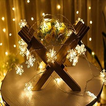 Led Linternas Cadena Jardín Exterior Cuento De Hadas Luces Verano Jardín Linternas Decorativas Linternas Linternas Copos De Nieve Día De Navidad Atmósfera Usb@1.5 M 10 Color Claro - Bateria: Amazon.es: Iluminación