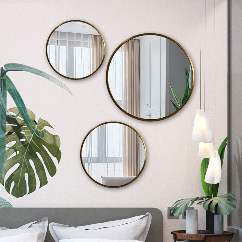 GUOWEI Bathroom Mirror Wall Mount Metal Frame Circular Makeup Decoration Simple, 3 Sizes, 3 Colors (Color : Gold, Size : Diameter -60 cm) by GUOWEI (Image #2)