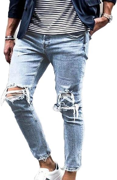 Gladiolusa Hombre Jeans Pantalones De Mezclilla Rotos Estiramiento Rodilla Vaqueros Amazon Es Ropa Y Accesorios