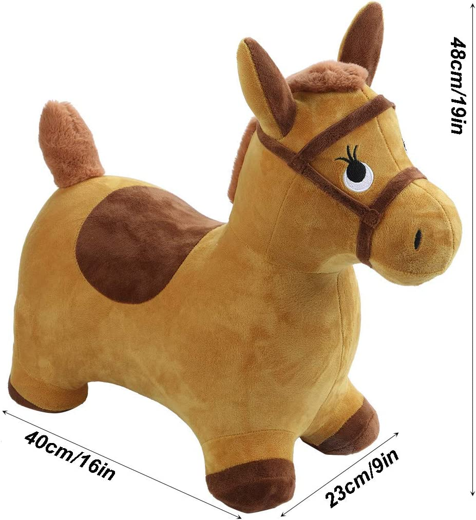 Inflatable Hopper Plush Covered with Pump Outdoors Ride On Bouncy Animal Play Toys Activity Toy 3 Activities Gift for 2 4 5 Year Old Kids Toddlers Boys Girls 【Ship from USA 】 Hopping Horse