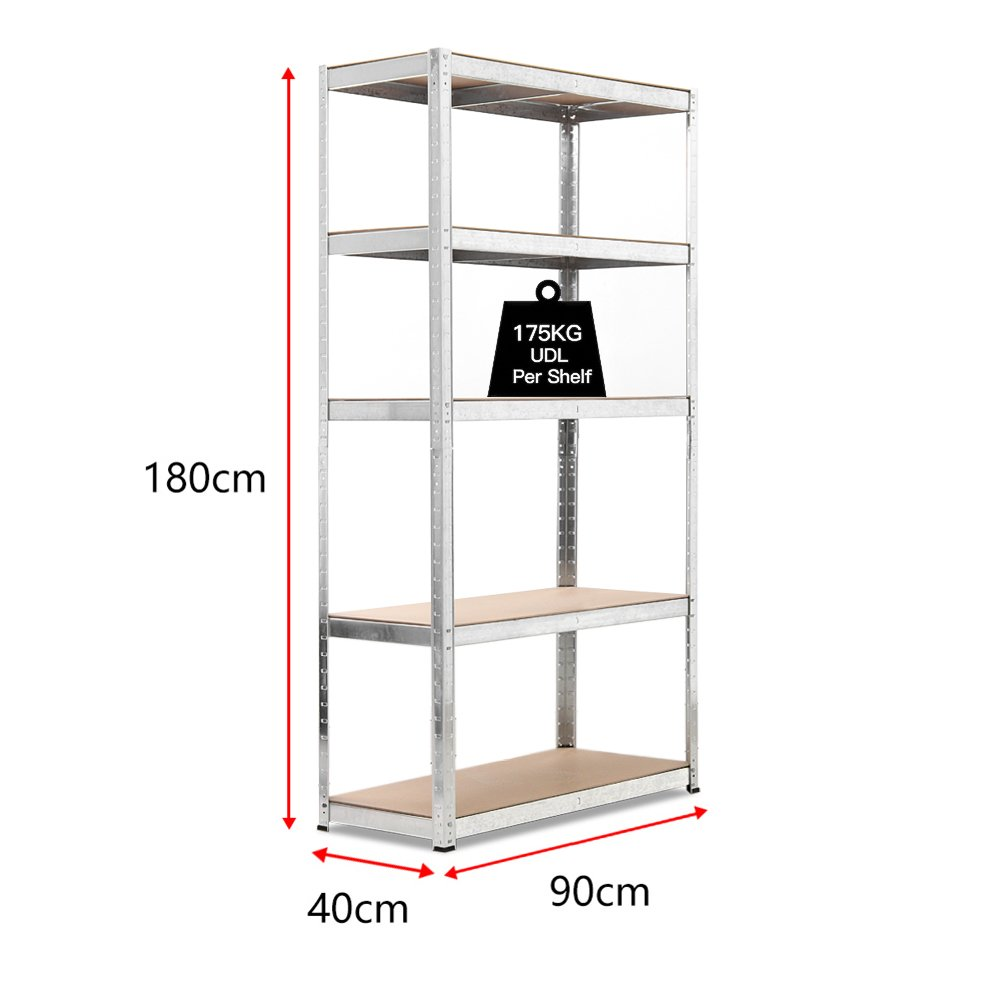 180x90x40cm 5 Tier Garage Shelving Storage Unit Heavy Duty Racking Shed Office Utility Room Warehouse Shelves - Galvanised WarmieHomy