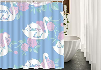 Amazon Migant Swan Shower Curtains Decor Swans Lake Flower Rose