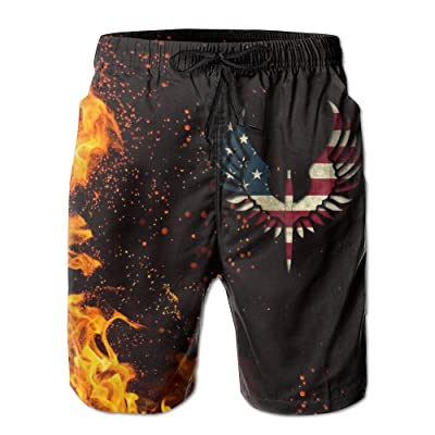Nasat American Flag Eagle Mens Shorts Loose Summer Swimming Trunks Running Swimming and Surfing