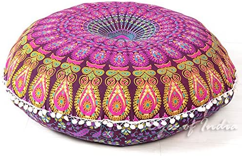 32 White Blue Mandala Round Colorful Decorative Floor Pillow Cover Meditation Cushion Seating Throw Hippie Bohemian Indian Boho Dog Bed Cover ONLY Eyes of India