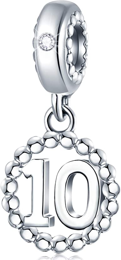 Amazon Com 10 Year Anniversary Charms Fit Pandora Bracelet Necklace 925 Sterling Silver Clear Cz Milestone Number 10th Birthday Pendant Beads Gift For Christmas Kids Couple Mothers Day Clothing