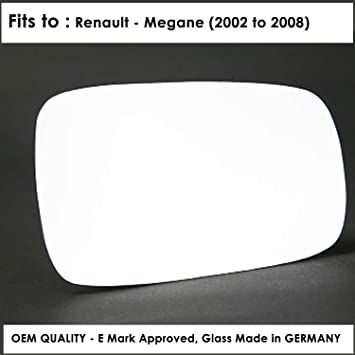 Passenger Side Silver Door Mirror Glass Including Base Plate LH REMegane 2002 to 2008 Heated