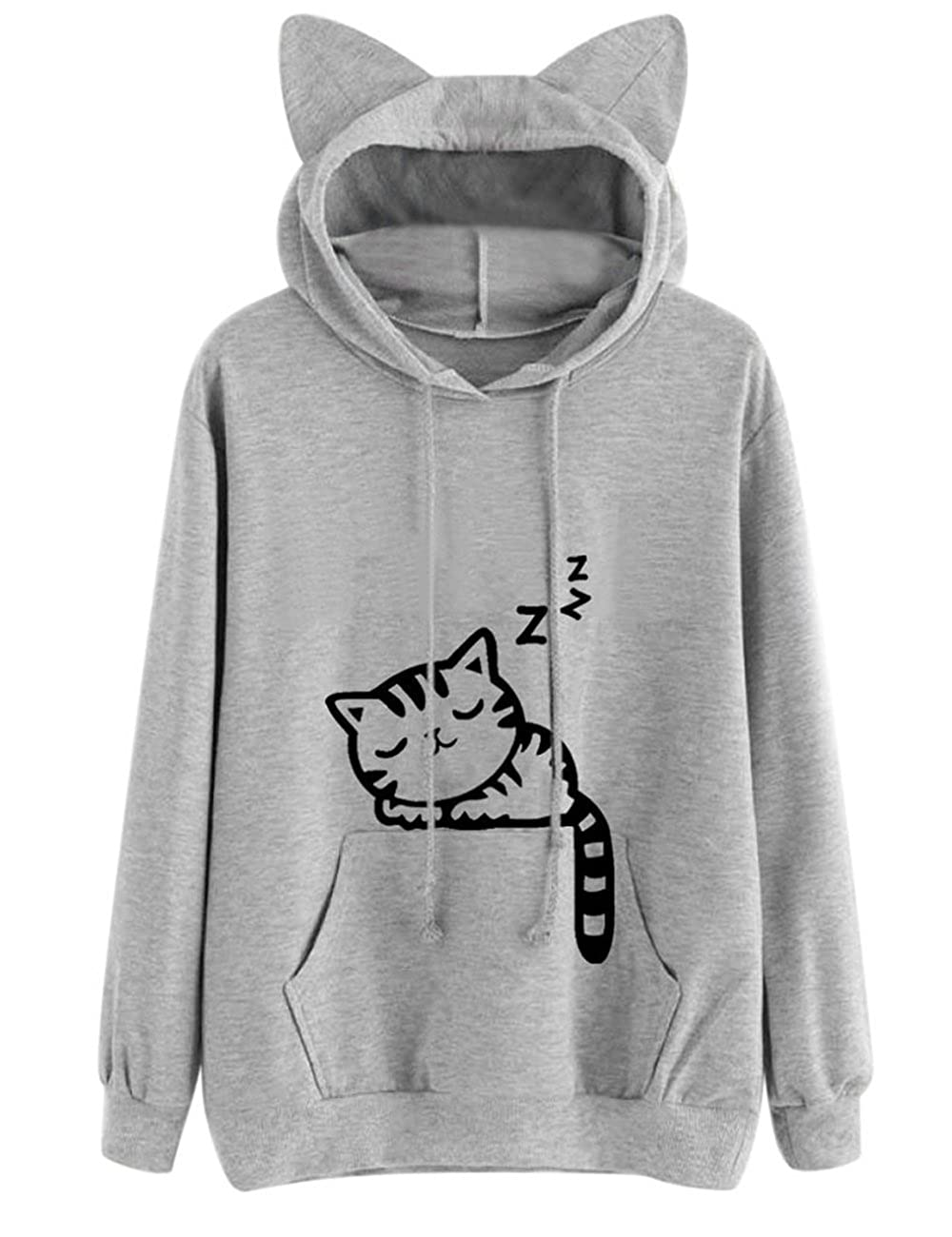 KEYEE Cute Cat Sweatshirt, Women Teen Girls Cotton Hoodie Sweater Pullover Tops with Pocket (M, Gray) DBK-12348076456t