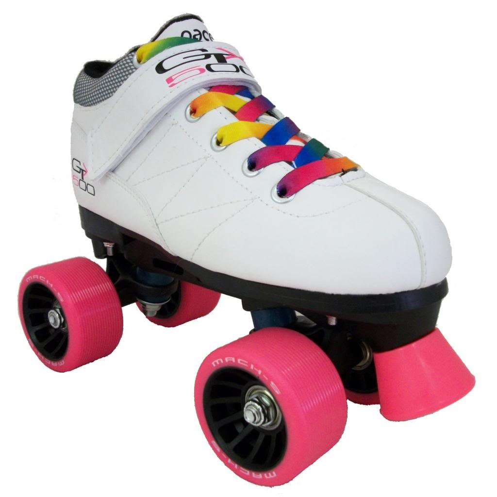 Roller skates rainbow - Amazon Com Pacer Mach 5 Gtx500 Quad Speed Roller Skates With Rainbow Laces Sports Outdoors