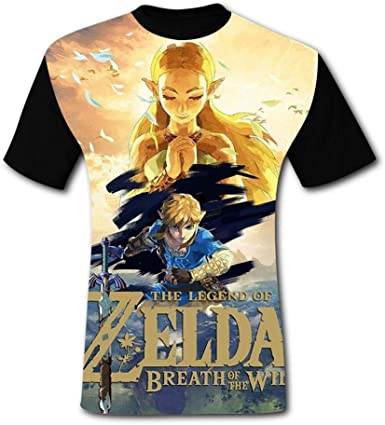 SHUANOM Zelda Fashionable Mens and Womens All-Purpose t-Shirts Black