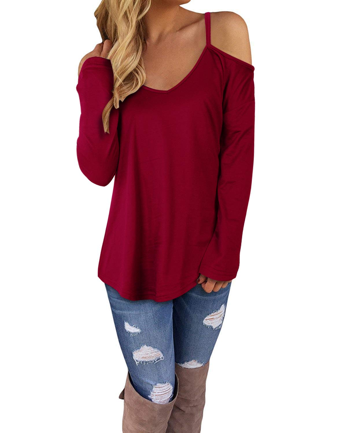 STYLEWORD Women's Off Shoulder Loose Casual Knitted Sweater Top Blouse(Wine,L)