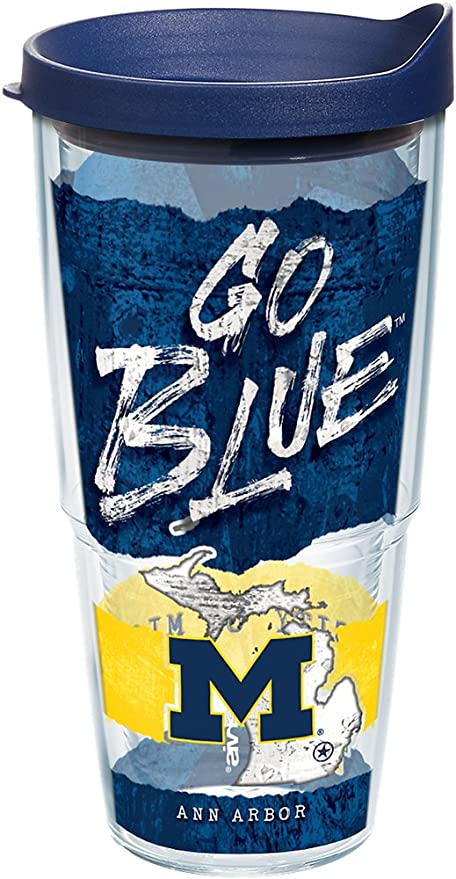 824010fe3a4 Amazon.com: Tervis 1218698 Michigan Wolverines College Statement Tumbler  with Wrap and Navy Lid 24oz, Clear: Kitchen & Dining