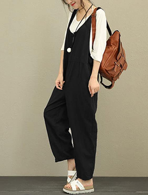 67b7e476788d Amazon.com  Aedvoouer Women s Casual Overalls Loose Jumpsuit Rompers Large  Plus Size Harem Wide Leg Pants  Clothing