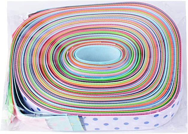2m//Colore BUONDAC 34m 17 Colori 22mm Nastro Grosgrain Colorato con Punti Decorativo Poliestere Fai da Te Fiocchi Decorazione Feste Matrimonio Portaconfetti Bomboniere Regalo