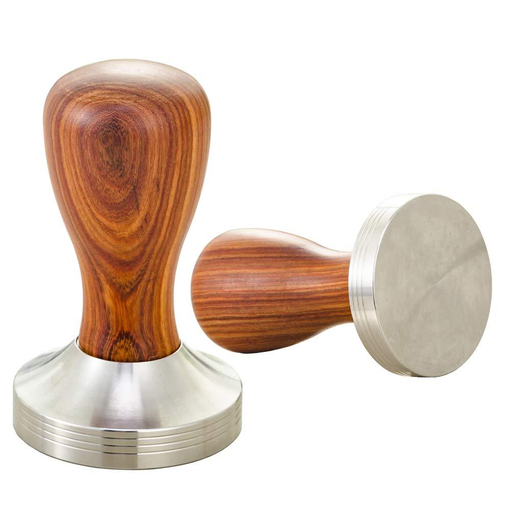 Bardland KF58-25 Tamper de madera para caf/é expr/és 58 mm Polvo de grano de caf/é Martillo Mango Base plana de caf/é Barista