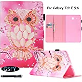 Galaxy Tab E 9.6 Case, Newshine Flip Case Cover Built-in Sleep/Wake Feature With [Card Slots/Cash Pocket] [SD/SIM Card Holder] [Stylus Holder] for Samsung Galaxy Tab E 9.6 SM-T560 (Pink Owl)