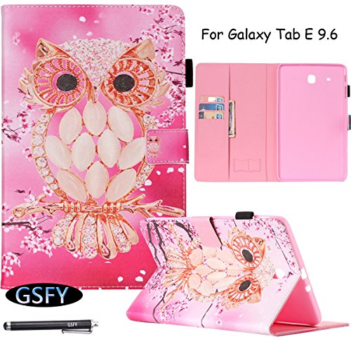 Galaxy Tab E 9.6 Case, Newshine Flip Case Cover Built-in Sleep/Wake Feature With [Card Slots/Cash Pocket] [SD/SIM Card Holder] [Stylus Holder] for Samsung Galaxy Tab E 9.6 SM-T560 (Pink Owl) by NewShine