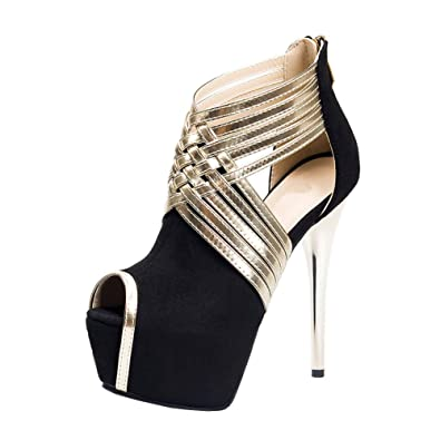 ce2270655985ae Fereshte Womens Sexy Fashion Peep-toe Stripe Sandals Super High Heels Black  EU Size 34
