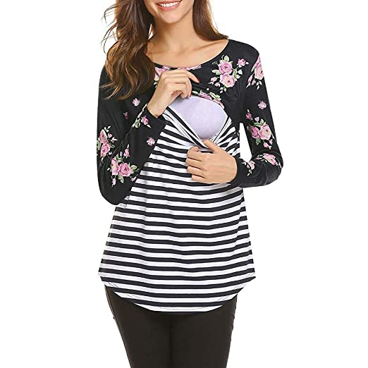 2d88c027180 Appoi Maternity Tops Women's Floral Printed Striped Henley Pleated Casual  Flare Nursing Tunic Blouse Pregnancy Shirt