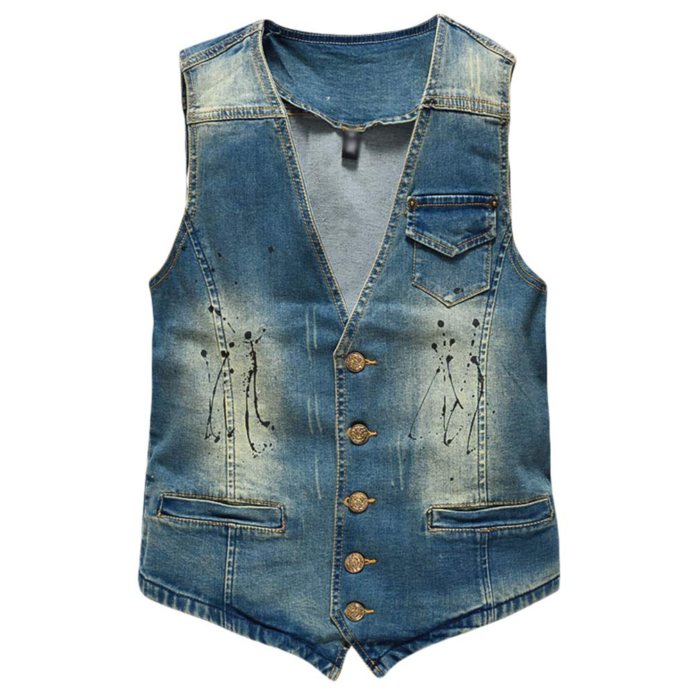 Byqny Herren Gro/ße Gr/ö/ße Fashion /Ärmellose Basic Stretch Zerrissene Jacke Weste Cowboy Denim Vest Beil/äufige Jeansweste Slim Fit Freizeitjacke