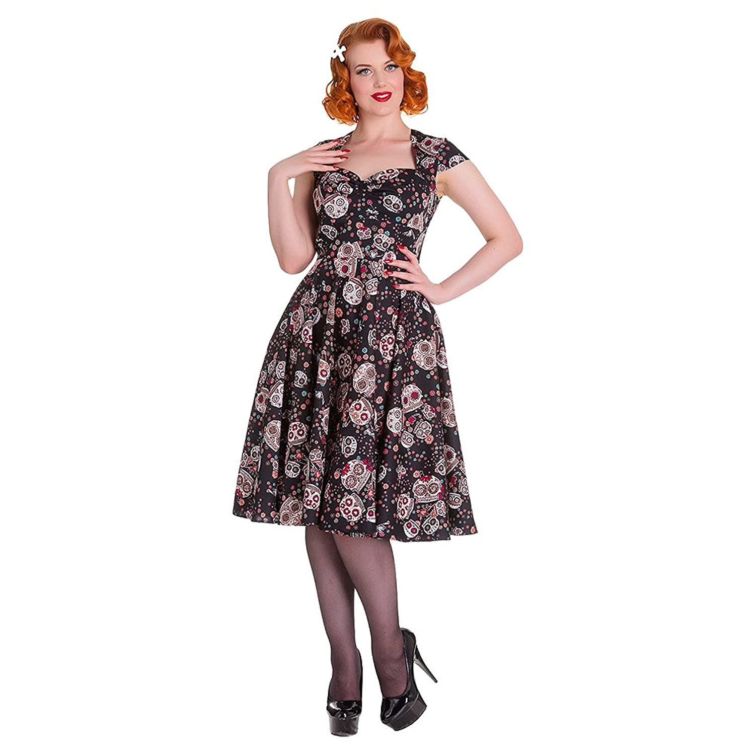 HELL BUNNY Pinup 50s Dress SASHA Love Skull Sugar ~ Black All Sizes