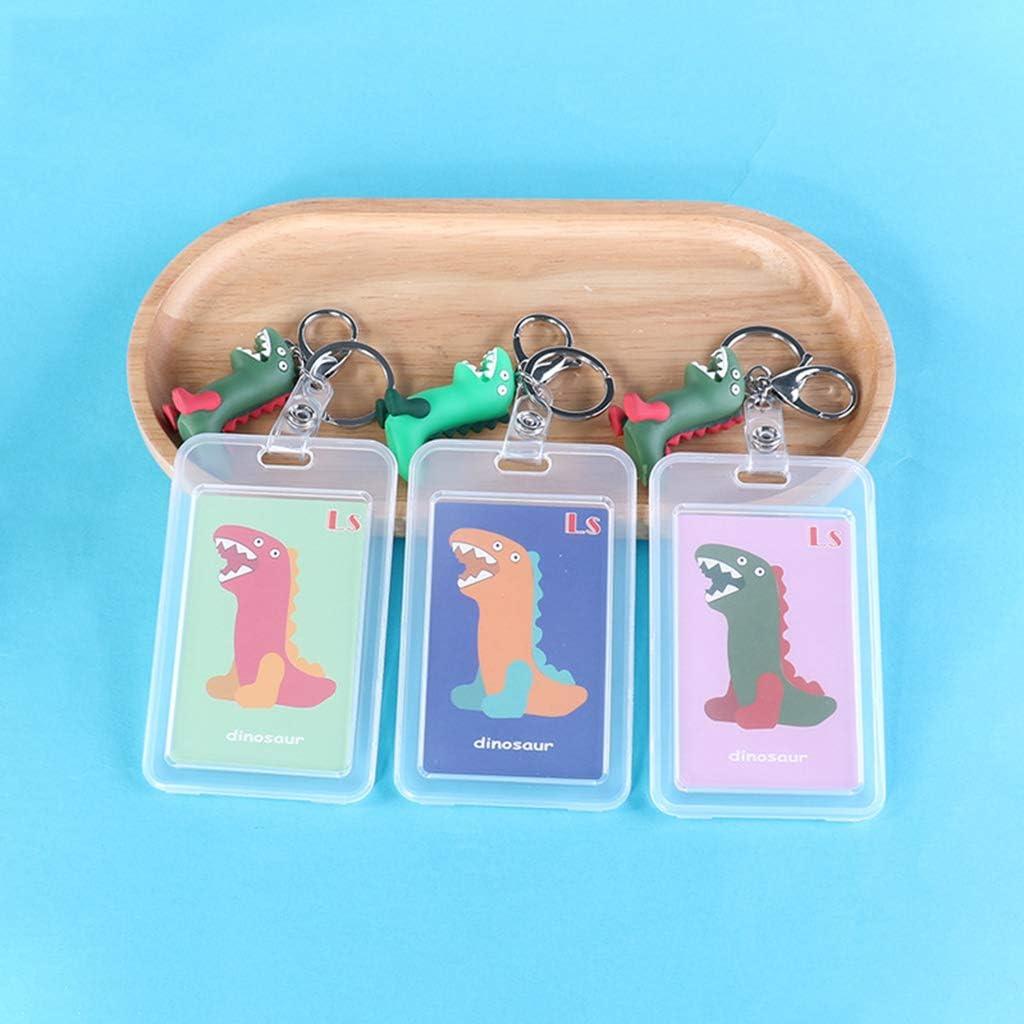 niumanery Transparent Bank Credit Card Bag Holder Cute Dinosaur ID Bus Card Cover Keychain Light Blue