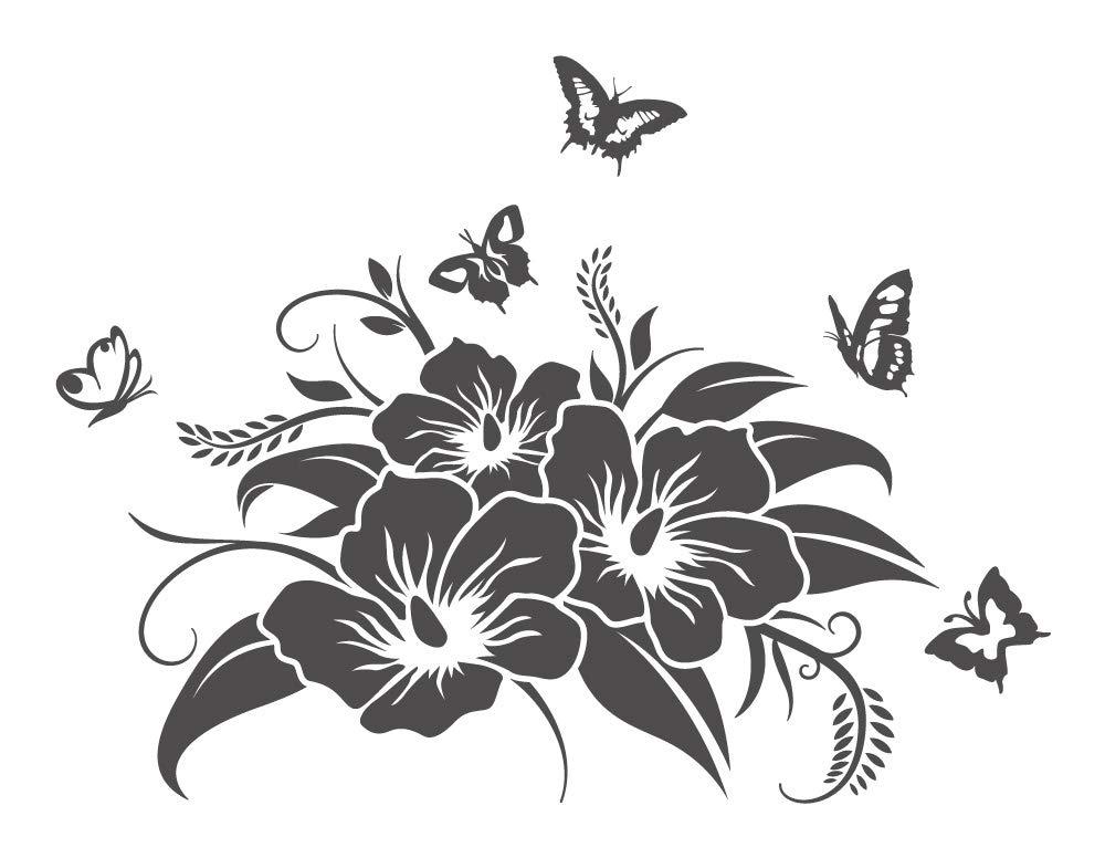 130 Pezzi Set Adesivi Fiori Hibiskus S Farfalle Hawaii 1 Tatuaggio Muro