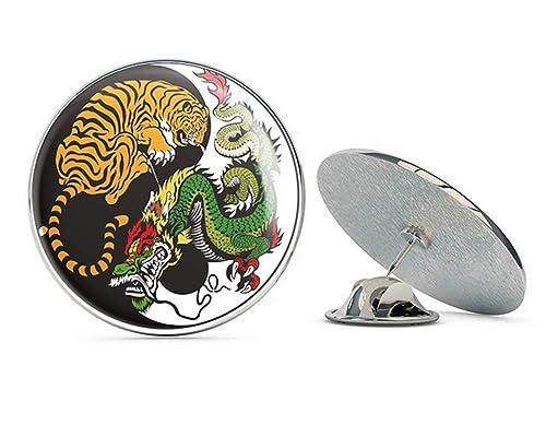 Amazon.com: Yin Yang Tiger Dragón redondo de metal de 0.7 in ...
