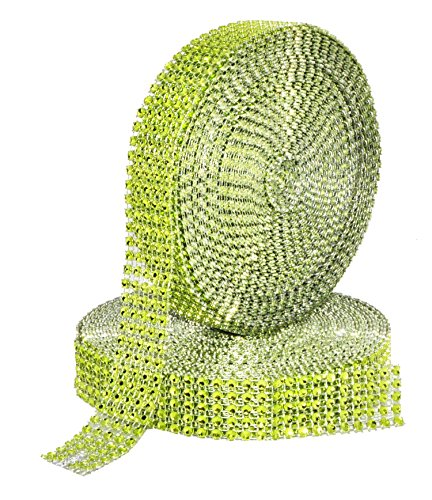 Mandala Crafts Faux Diamond Bling Wrap, Faux Rhinestone Crystal Mesh Ribbon Roll for Wedding, Party, Centerpiece, Cake, Vase Sparkling Decoration (1 Inch 5 Rows 20 Yards 2 Rolls, Lime Green) ()