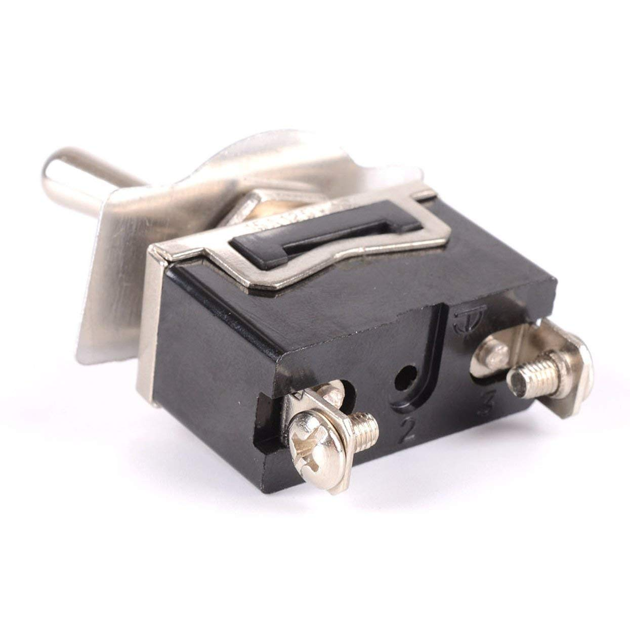 Interruptor de palanca de carreras de autos duradero Encendido//apagado SPST Interruptor de palanca Palanca de metal Luz del tablero del autom/óvil con cubierta de misiles Rojo Negro y rojo Negro