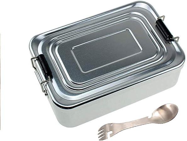 Fiambreras Caja de almuerzo cuadrada Aluminio caja bento Para niños o adultos con una cuchara Seguro y Durable Ligero, portátil, Especial para camping, senderismo, viajes,Silver: Amazon.es: Hogar