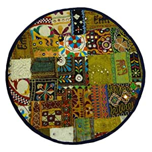 """Ethnic Round Pillow Case Multicolor Home Décor Kutch Patchwork Cushion Cover India Gift Art 25"""" Inches"""
