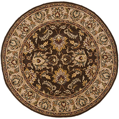 Brown Rug Round Oriental (Safavieh Heritage Collection HG912A Handcrafted Traditional Oriental Brown and Ivory Wool Round Area Rug (6' Diameter))