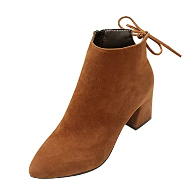 f44d242f65c92 fereshte Ladies Women's Fashion Suede Pointed-Toe Mid Heels Casual Back  Lace Ankle Boots Brown
