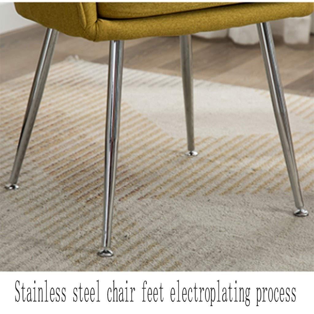 HEJINXL köksstolar flanellsits oberoende dyna svamp fyllning rostfritt stål fötter matstolar bekväma ryggstöd fåtölj (färg: B) a