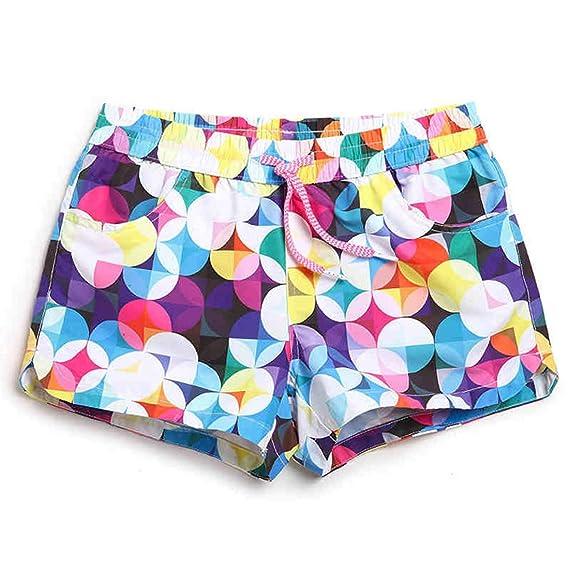 b77c003bb8aa7d GWELL Short de Bain Femme Sexy Bikini de Natation Short de Plage Motifs  Colorés
