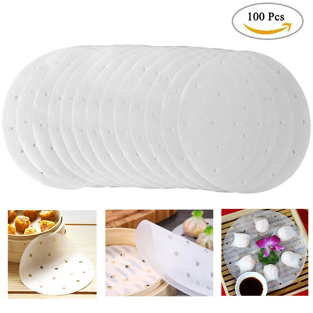 Air Fryer Liners Round Perforated Parchment Paper ,Non Stick Bamboo Steamer Paper Liners diameter 9 inch Suitable for Cooking, Steaming Basket, Vegetables, Dim Sum,Rice (100)