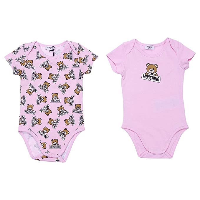 best service d6335 e093b Moschino Baby Girl Set Body Rosa in Cotone MOD ...